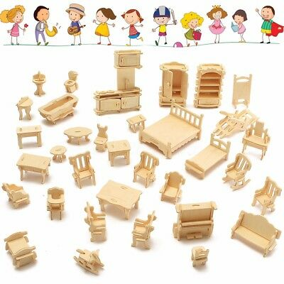 34 Pcs 3D DIY Wooden Miniature Dollhouse Furniture Model Unpainted Suite Toys