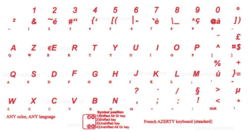 FRENCH AZERTY KEYBOARD STICKER TRANSPARENT RED LETTERS