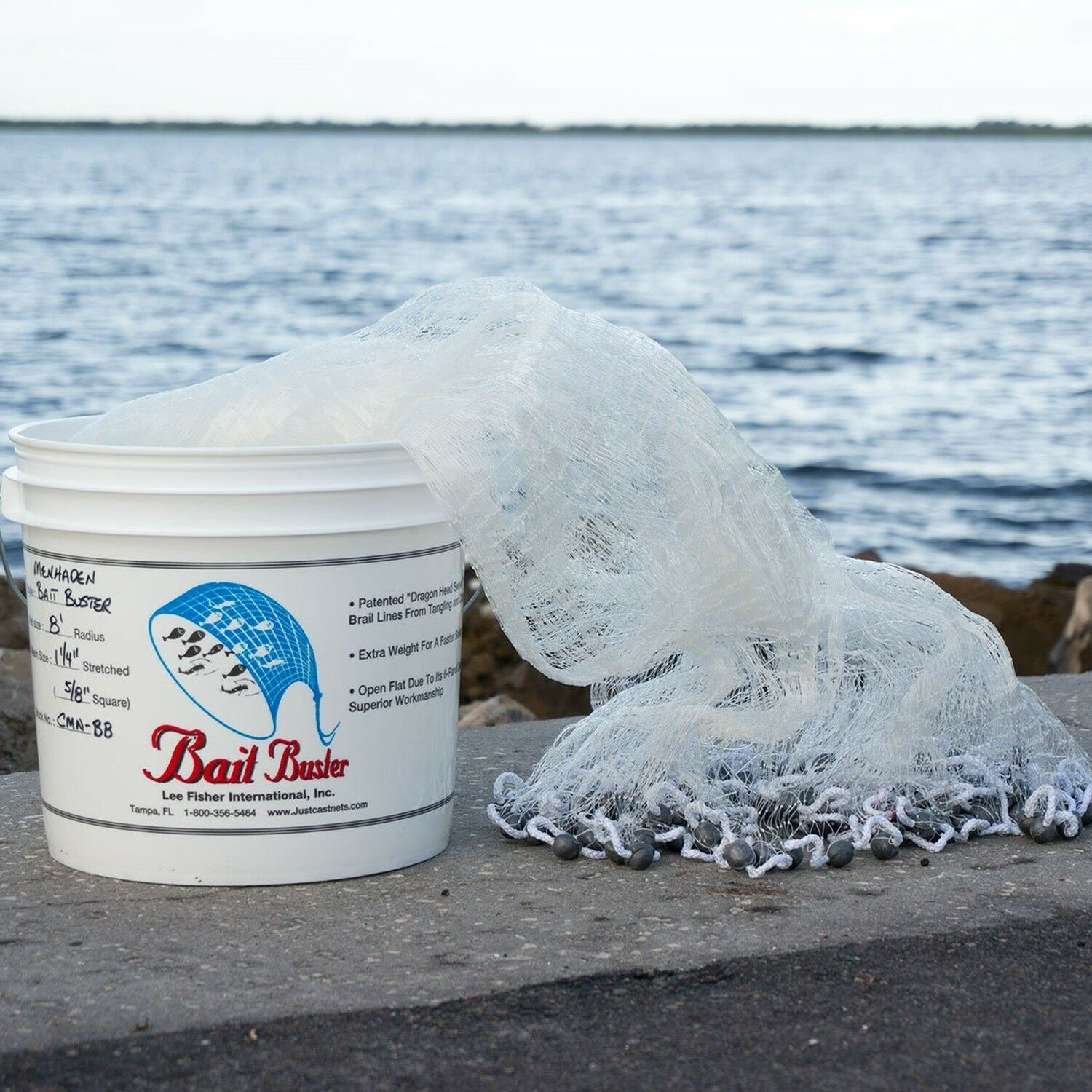 Bait  Buster Menhaden Cast Net with 5 8  Squared Mesh - 10 Foot Radius  after-sale protection