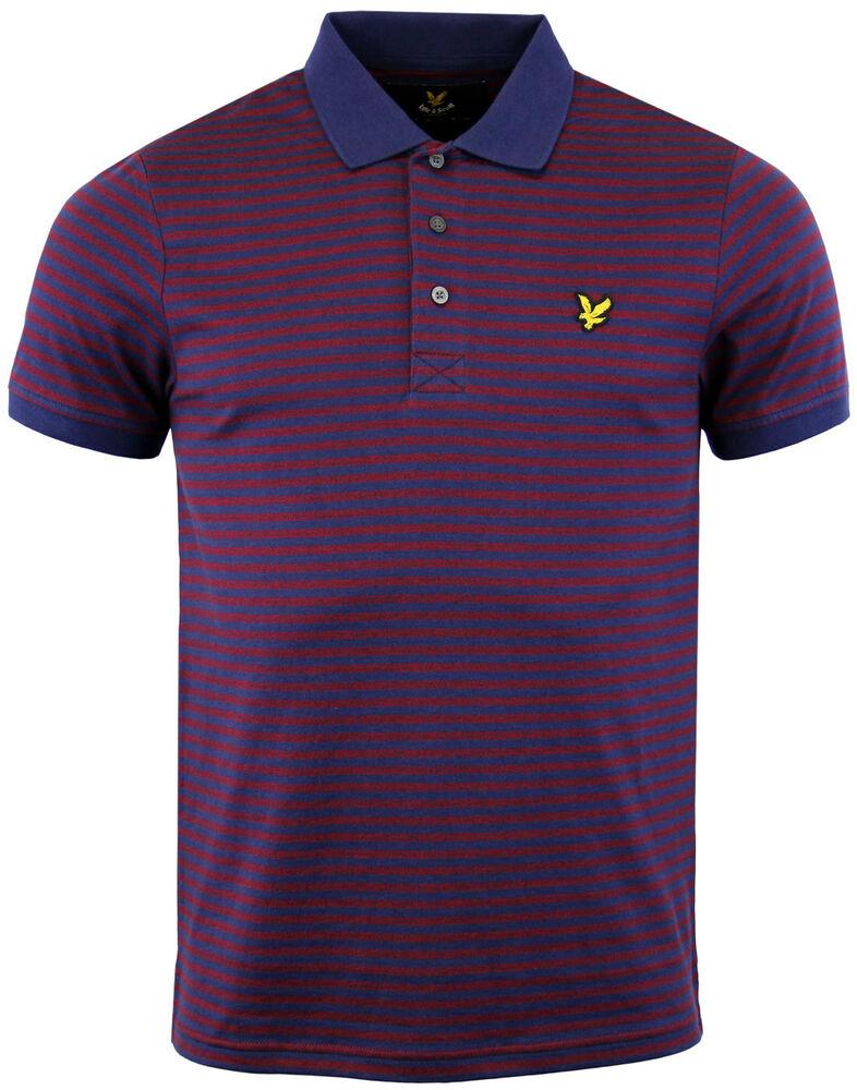 Alerte Lyle & Scott ® Homme Rétro Mod Mouline Stripe Polo Shirt-rouge/bleu Marine-taille Moyenne Produire Un Effet Vers Une Vision Claire