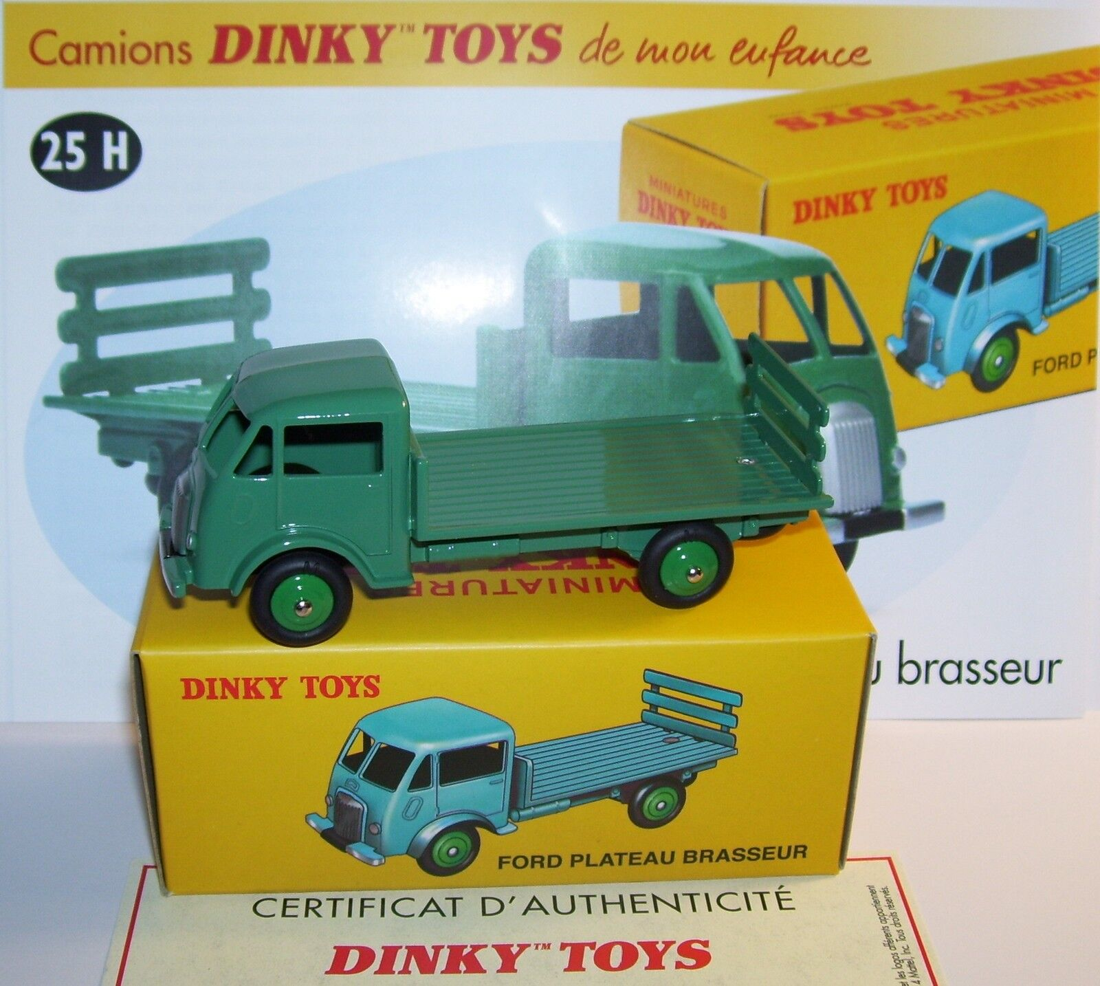 REEDITION DINKY TOYS ATLAS FORD PLATEAU BRASSEUR REF 25 H Grün IN BOX