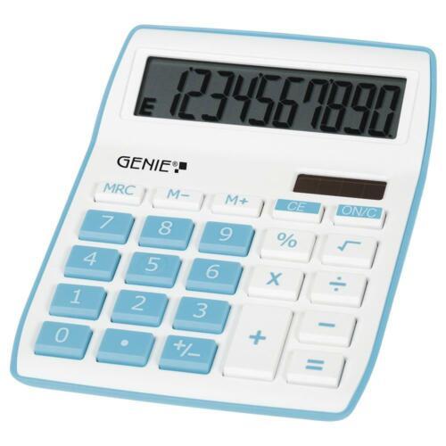 GENIE Tischrechner 840 B Dual Power Solar Batterie Bürorechner Blau Weiß