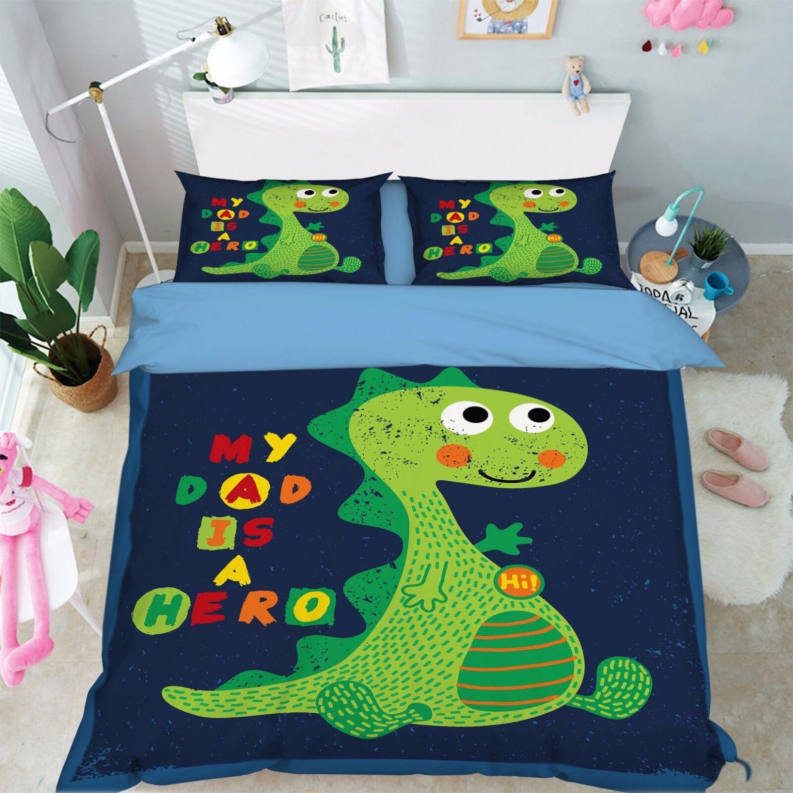3D Dinosaurier 917 Bett Kissenbezüge steppen Duvet Decken Set Single DE Kyra