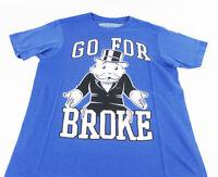 Mens Blue Monopoly Man Go For Broke Logo Graphic T-shirt Size S M L Xl 2xl