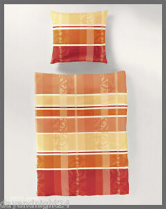 2 tlg bierbaum seersucker bettw sche 155x220 blumenranken papaya terra 6491 d3 ebay. Black Bedroom Furniture Sets. Home Design Ideas