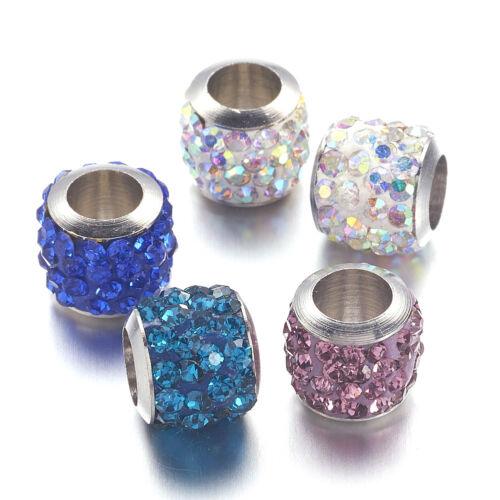 50pcs Colorful Brass Rhinestone European Beads Column Large Hole Charm 8.5x7.5mm