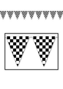 Black /& White Checkered Flag Polyester Bunting Various Lengths