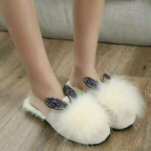 Women-Furry-Slippers-Faux-Fur-Rhinestone-Slip-on-Flats-Shoes-Sandals-Warm