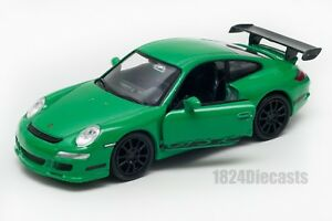 Porsche-911-997-GT3-RS-green-Welly-scale-1-34-39-model-toy-car-gift
