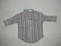 Gymboree Train Time Gray Blue Stripe Top Shirt Button Down 0-3 Months