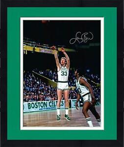 "Frmd Larry Bird Boston Celtics Signed 16"" x 20"" Shooting in White Jersey Photo"