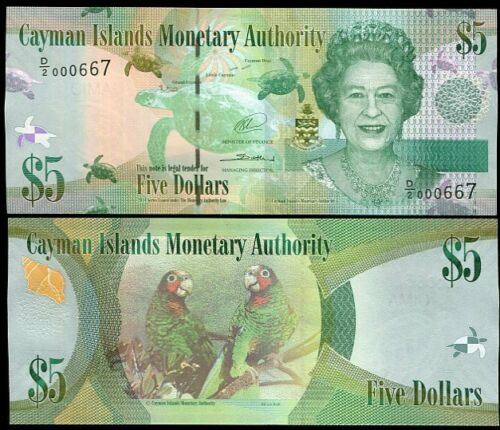 2014 QEII P 39 D//2 NEW SIGN LOW SERIAL UNC CAYMAN ISLANDS 5 DOLLARS ND 2010