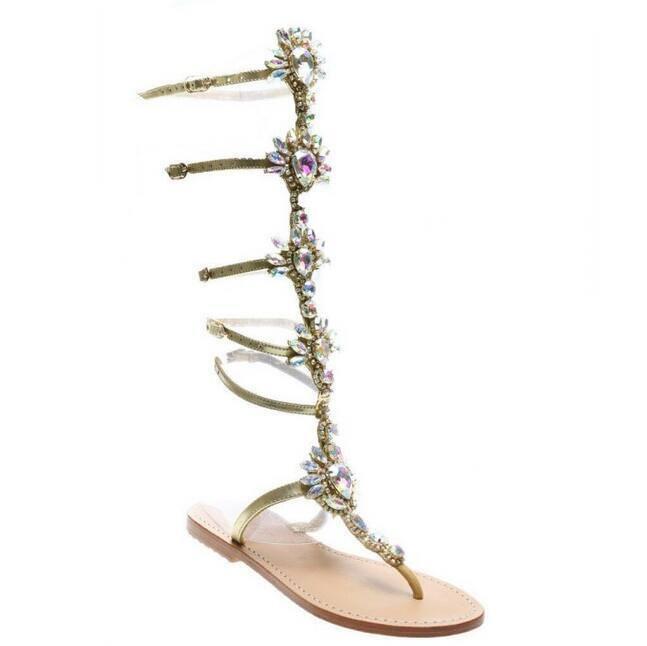 Roman Womens Summer Luxury Luxury Luxury Rhinestone Diamond Sandals Gladiator Flip Flops shoes 52b173