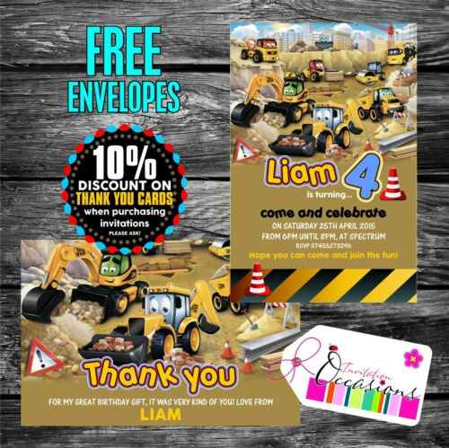 Personalised Joey the JCB Digger Construction theme Party Invitations x 5