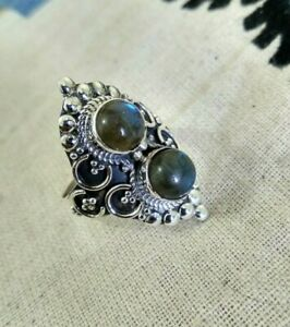 aa43014a5dff9 Natural Labradorite Ring Sterling Silver Gypsy Ring Double Stone ...