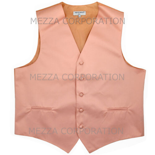 New Men/'s Vesuvio Napoli Tuxedo Vest Waistcoat Necktie prom wedding party Peach