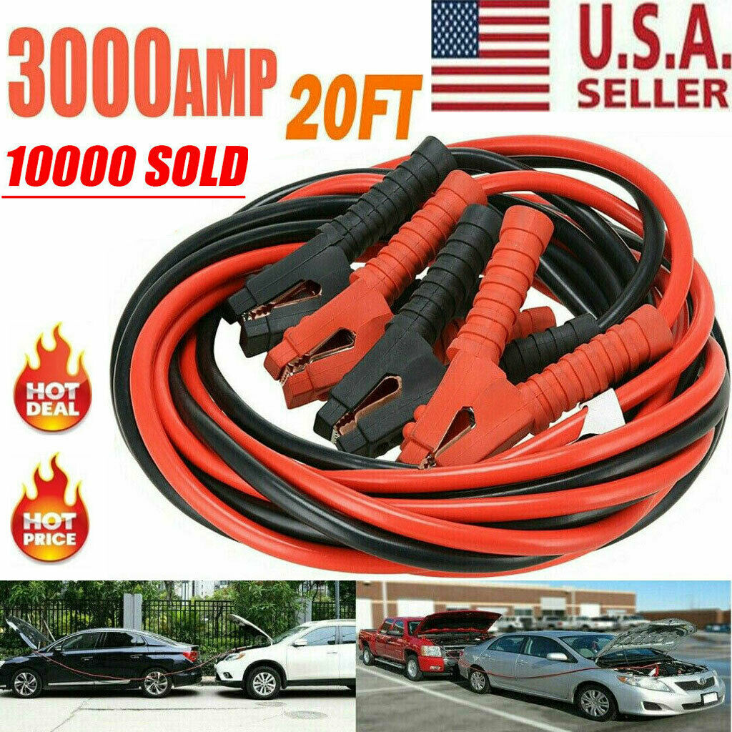 Size : 1000A Car jump starter Car Emergency Battery Jumper Cables Heavy Duty 2000AMP 4M With Alligator Clamp Booster Battery Clips For Car Van Truck SUV