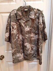 Off-Shore-Mens-Large-L-Hawaiian-Short-Sleeve-Shirt-Floral-Greens-Pineapples