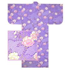 "Japanese 58""L Women's Kimono Yukata Robe Sakura w/ Purple Shibori, Made in Japan"