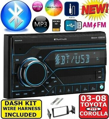 Planet Audio Car Radio Bluetooth AUX Dash Kit Harness for 03-08 Toyota Corolla
