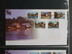2003-AUSTRALIA-MURRAY-RIVER-SHIPPING-SET-5-STAMPS-FDC-FIRST-DAY-COVER-P-amp-S