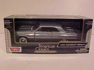 1964-Chevy-Impala-Coupe-Hard-Top-Die-cast-Car-1-24-by-Motormax-8-inch-Gray-Blue