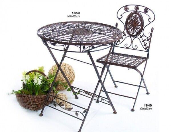 Gartengarnitur Avis 1 Tisch mit mit mit 2 Stühlen Sitzgruppe klappbar Metall antik e69652