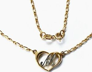 GILDED-GOLD-STERLING-SILVER-PENDANT-GEM-SET-HEART-INITIAL-M-16-CHAIN-NECKLACE