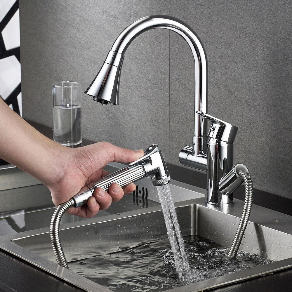 360° drehbar Küchenarmatur Spültisch Wasserhahn herausziehbar Brause Schwenkbar
