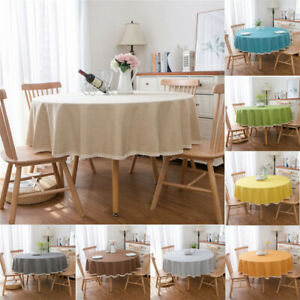 Round-Colorful-Table-Cloth-Cotton-Linen-Wedding-Garden-Dining-Tableware
