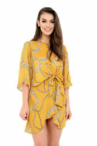 Womens-Yellow-Summer-Dress-Round-Neck-Ruched-Tie-Knot-Front-Casual-Tunic