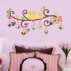 Colorful Owl Nursery Tree Girls Gift Kids Room Decor Wall