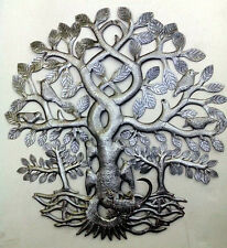 "Handmade Metal Tree of Life Haitian Tin Art Oil Drum For Sale Metal Artists 24"""