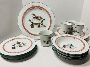 15 pc Anchor Hocking Christmas 'Holiday Memories' Dinnerware Plates Bowl Serving