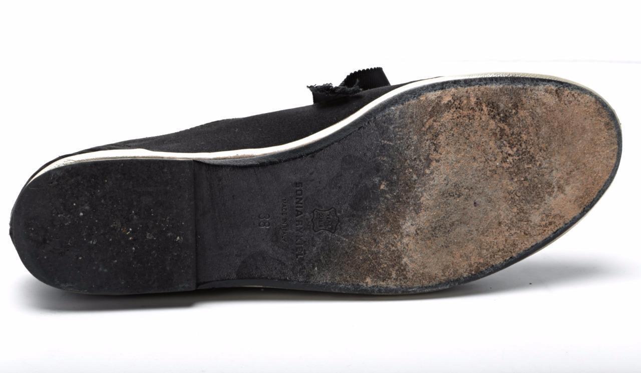 SONIA RYKIEL femme noir-Satin & or Trim Lace-Up Ruban Ruban Ruban flats chaussures 8-38 60e77f