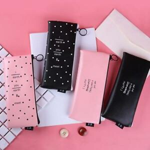 Cute-PU-Leather-Zipper-Pen-Pencil-Case-Cosmetic-Storage-Bag-Pouch-Stationery-LD