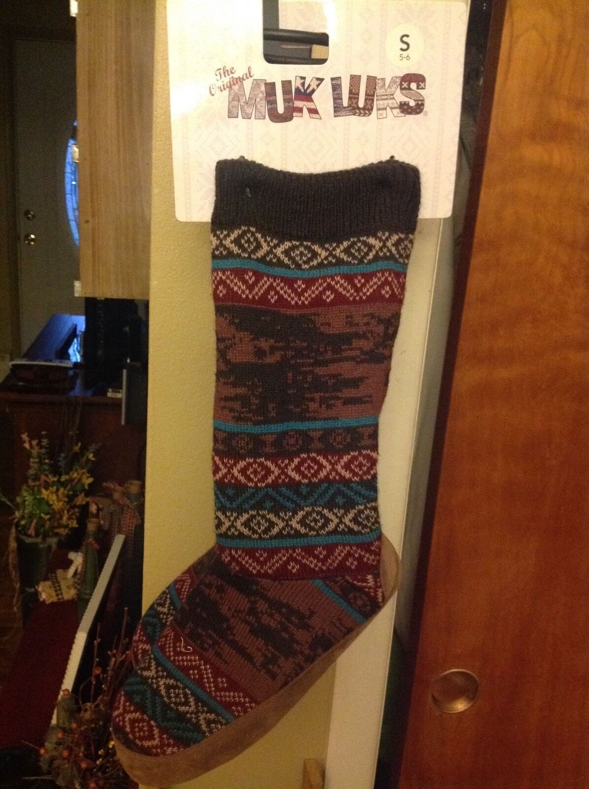 Muk Luks Brown High Top Slip On Knit w/Lining Boots Women's Size 5-6 Small
