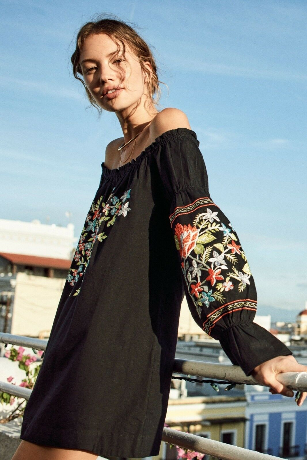Nwt Freie Menschen Szs Blaume Du Jour Aus-Die-Schulter Stickerei Kleid Schwarz