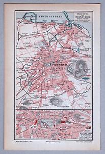 Edinburgh-Schottland-Alte-Karte-Stadtplan-1898-Lithographie