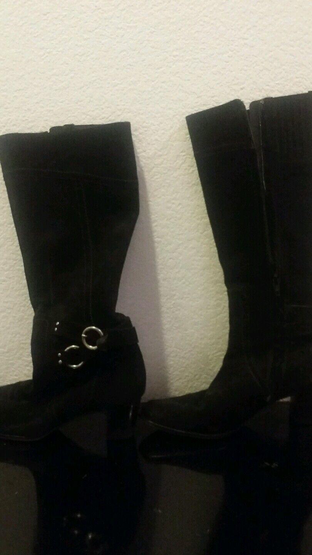 Womens VAN ELI Vero Cuoio Italian Black  Suede  Zip Heels Boots Shoes Sz 8 1/2 M