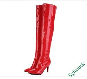 d3ddaaedb4e Knee High Boots Women s Pointy Toe Party Shiny Patent Leather Shoes ...
