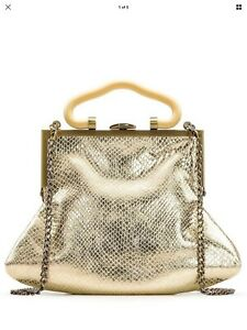Patricia-Nash-Gold-Metallic-Python-Print-Almarza-Clutch-Handbag-Crossbody-NWT