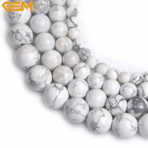 "Natural White Howlite Turquoise Gemstone Round Beads For Jewelry Making 15/"" YB"