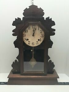 Vintage 21in Gingerbread Mantel Clock W/key Works Great Needs TLC