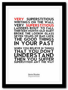 Details about Superstition - Stevie Wonder - song lyric poster typography  art print - 4 sizes
