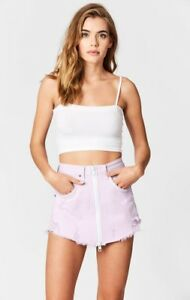 2167a00934 LF carmar lilac distressed high rise Beatrice zip front denim skirt ...