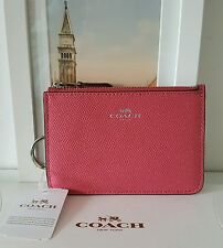 COACH Leather Key Ring Zip Coin Purse Wallet Strawberry/Silver F57854 Authentic