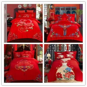 6bbae98d66f Chinese Wedding Queen King Size Bed Quilt Doona Duvet Cover Set 100 ...