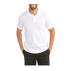 George-Stretch-Pique-Men-039-s-White-Polo-Shirt-with-No-Roll-Collar-3XL-54-56-NWT