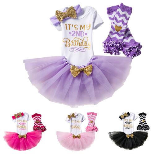Bébé Filles 2nd Anniversaire Fête Tutu Jupes deux année Vêtements Tenues 3pcs sets
